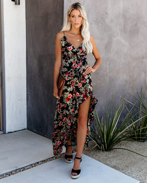 Good Buds Satin Floral Ruffle Maxi Dress