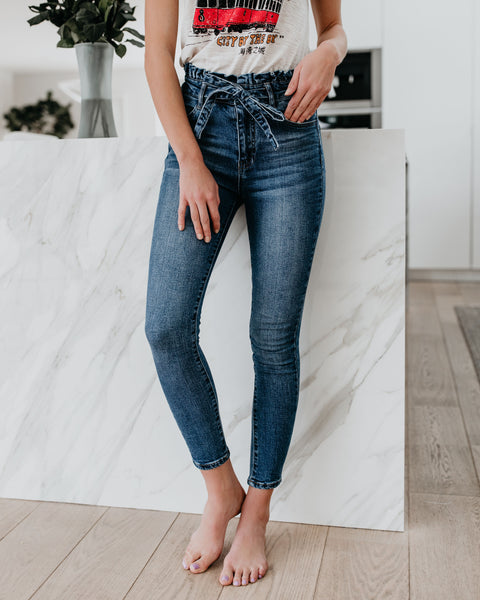 Good Lookin' Paper Bag Waist Denim Skinnies - FINAL SALE