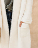 Good Tidings Faux Fur Pocketed Knit Cardigan