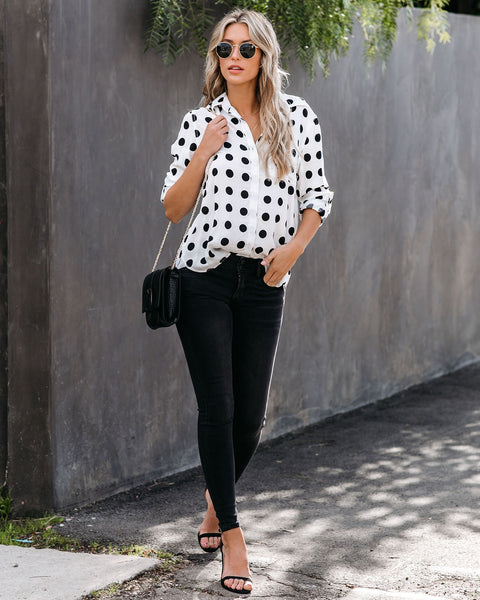 Gossip Gal Polka Dot Button Down Top