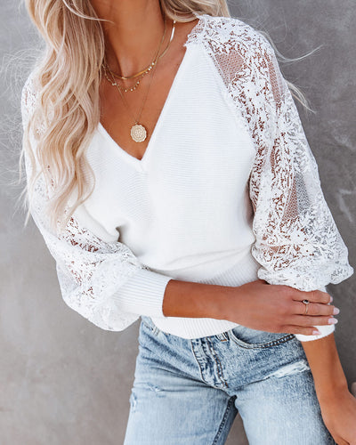 Got A Crush Contrast Lace Knit Sweater Top - Ivory