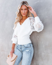 Got A Crush Contrast Lace Knit Sweater Top - Ivory view 3