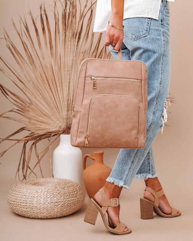 Gramercy Faux Leather Backpack - Almond view 6