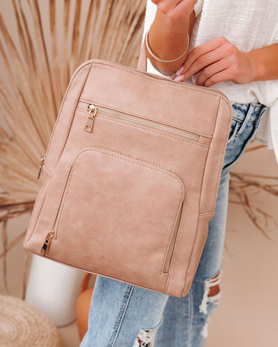 Gramercy Faux Leather Backpack - Almond