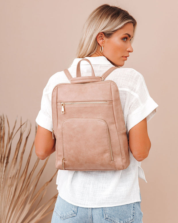 Gramercy Faux Leather Backpack - Almond view 1