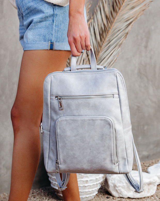 Gramercy Faux Leather Backpack - Grey view 5