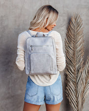 Gramercy Faux Leather Backpack - Grey view 3