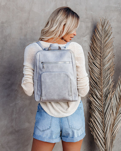 Gramercy Faux Leather Backpack - Grey
