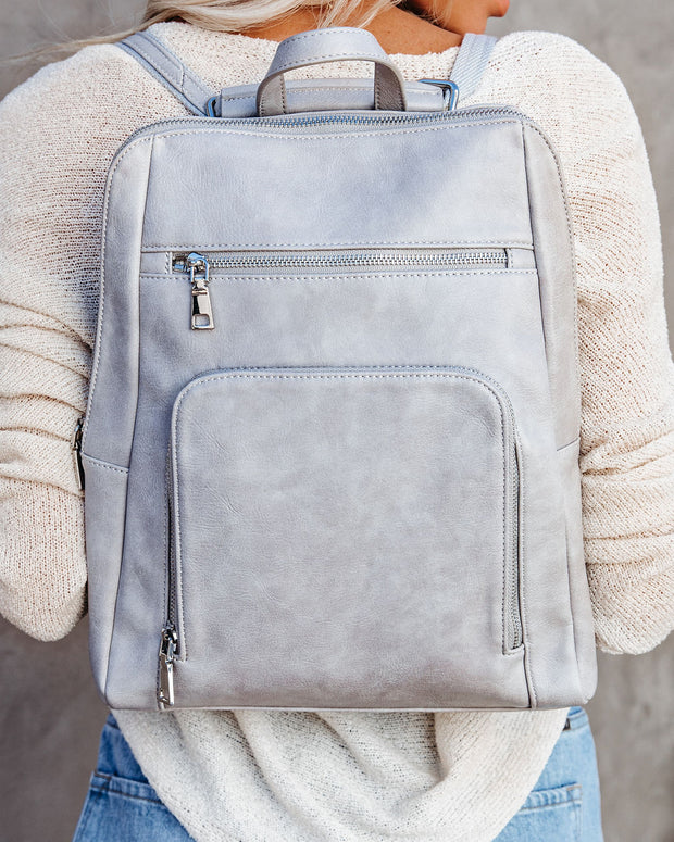 Gramercy Faux Leather Backpack - Grey view 2