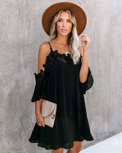 Gramercy Lace Cold Shoulder Pleated Dress - Black - FINAL SALE