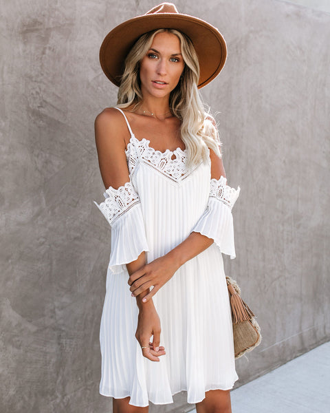 Gramercy Lace Cold Shoulder Pleated Dress - Off White - FINAL SALE