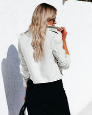 Gramercy Pocketed Faux Leather Moto Jacket - Off White view 2