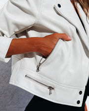 Gramercy Pocketed Faux Leather Moto Jacket - Off White view 4