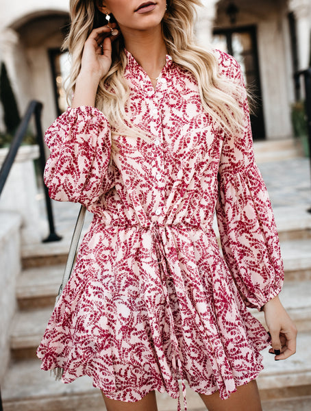 Grapevine Adjustable Balloon Sleeve Dress