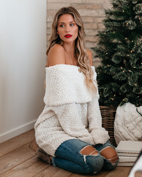 Gravy Train Off The Shoulder Knit Sweater - Cream - FINAL SALE