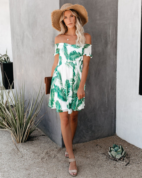 Great Outdoors Palm Print Smocked Dress - FINAL SALE