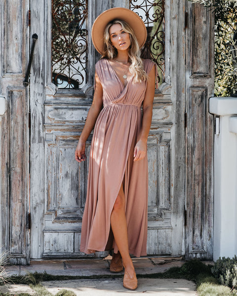 Greek Goddess Maxi Romper - Latte