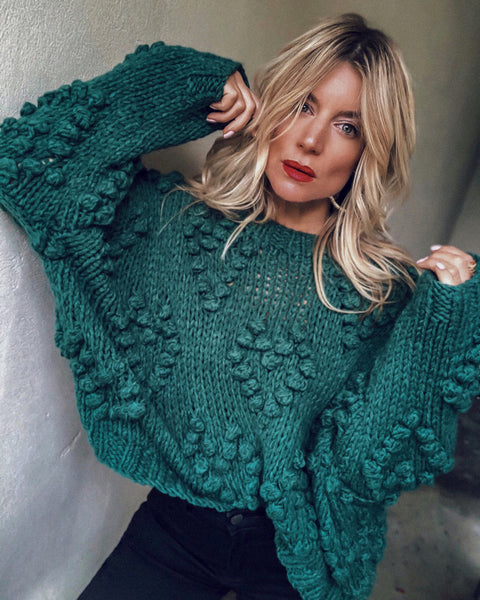 PREORDER - Follow Your Heart Knit Sweater - Green