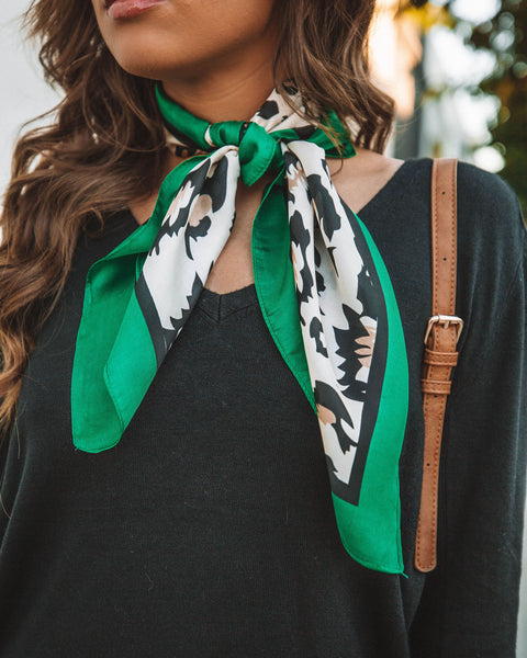 Madrid Satin Leopard Scarf - Green
