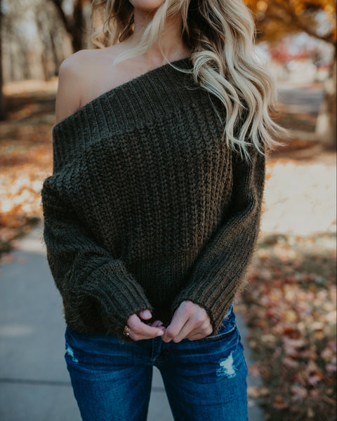 Warm Heart Off The Shoulder Sweater - Olive
