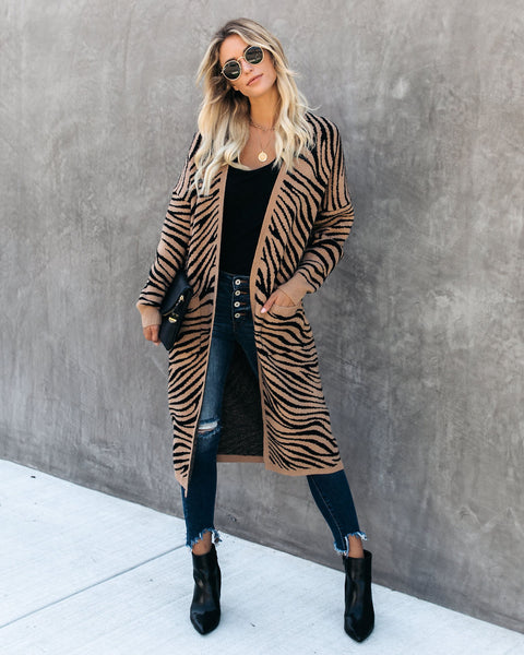 Grevy Pocketed Zebra Cardigan