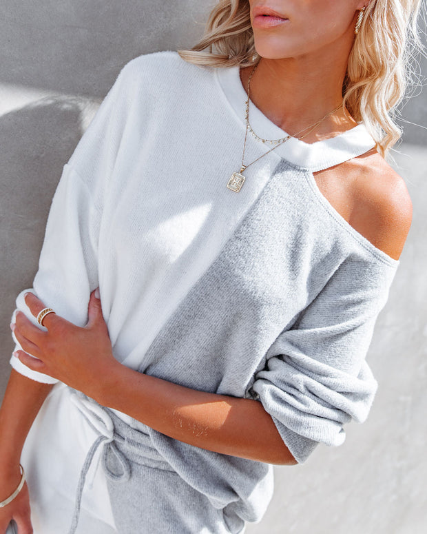 Grey Area Colorblock Cutout Knit Top view 9