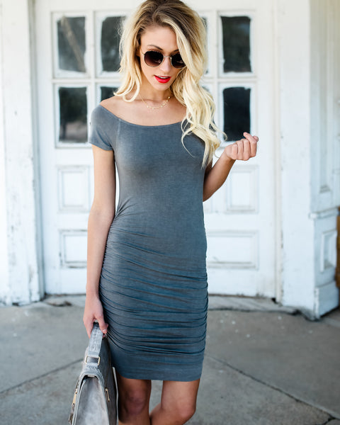 Can't Resist Ruched Dress - Grey
