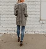 Newman Cable Knit Pocketed Cardigan - Grey
