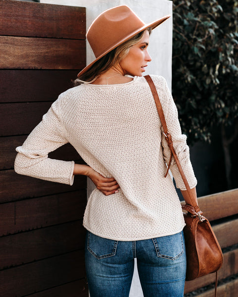 Grey Days Cotton Blend Knit Sweater - Oatmeal