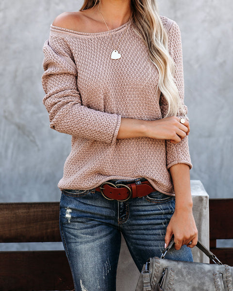 Grey Days Cotton Blend Knit Sweater - Taupe