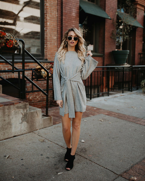 Park City Sweater Tie Dress - Grey