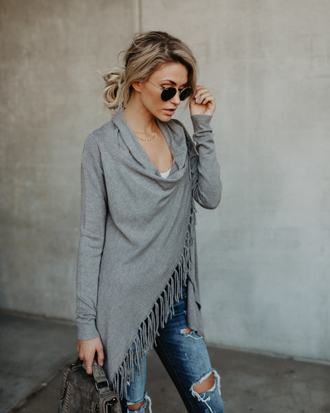Superior Fringe Cardigan - Heather Ash