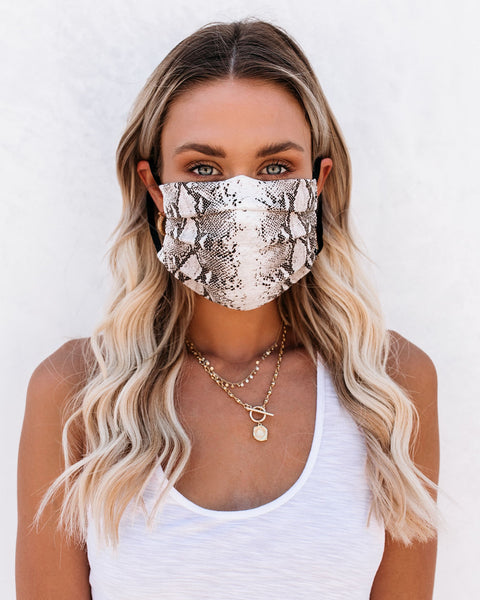 PREORDER - Grey Python Fashion Face Covering