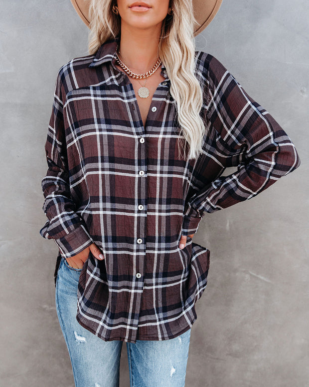 Grizzly Peak Cotton Plaid Button Down Top