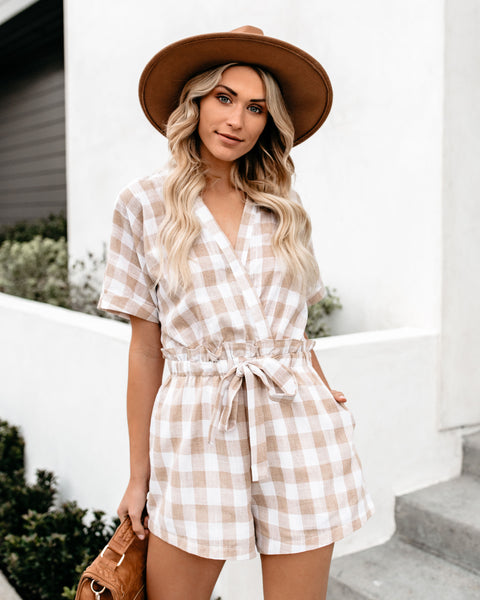 Grotto Gingham Pocketed Romper