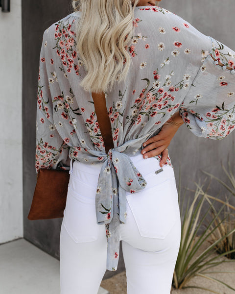 Groundbreaking Floral Tie Back Blouse