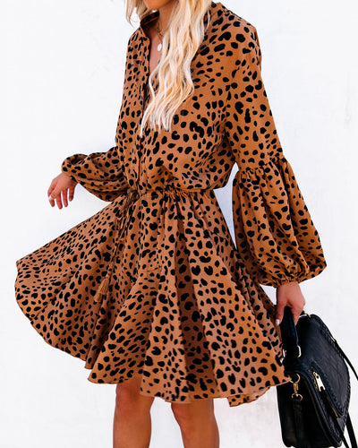 Grrrl Power Animal Print Button Down Dress