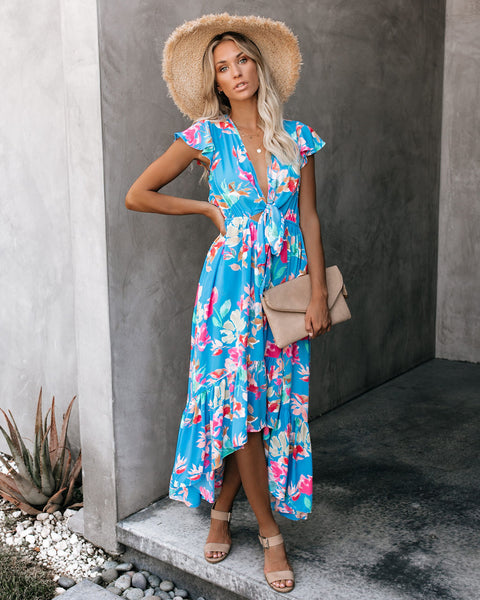 Guadalajara High Low Pocketed Tie Maxi Dress - FINAL SALE