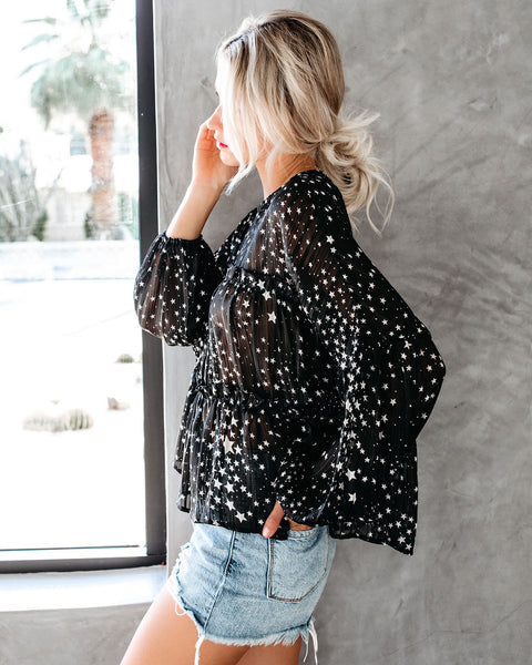 Guard My Galaxy Tiered Balloon Sleeve Blouse - Black