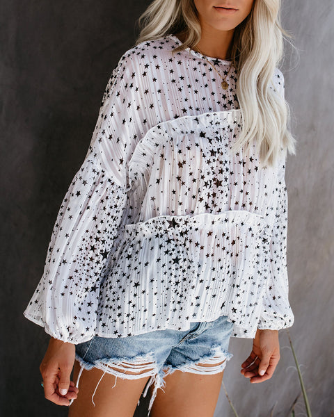 Guard My Galaxy Tiered Balloon Sleeve Blouse - White - FINAL SALE