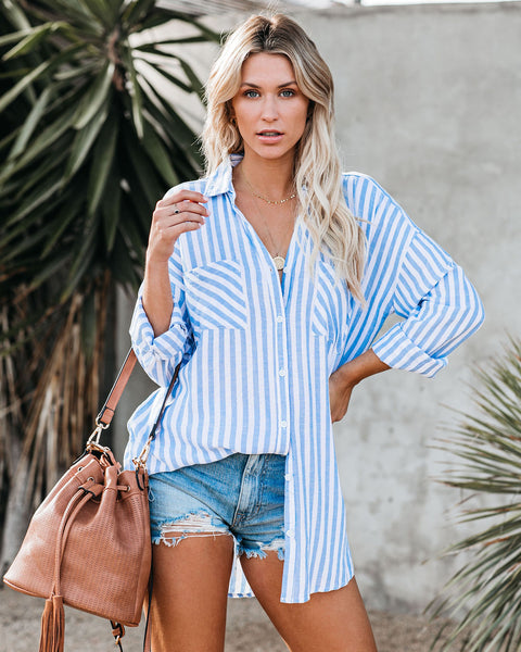 Gulf Shores Linen Blend Striped Button Down Tunic