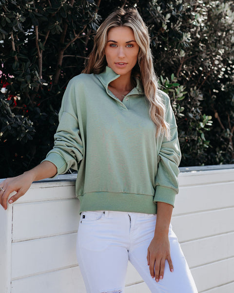 Gunnar Cotton Blend Henley Sweatshirt - Basil