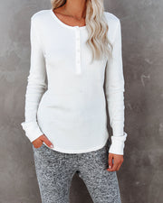 Gwen Cotton + Modal Thermal Henley Top - Off White