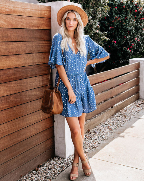 Hailey Polka Dot Babydoll Dress - Blue