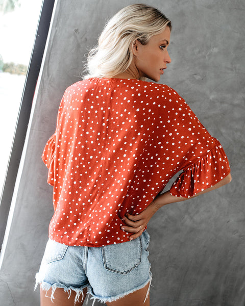 Hailey Polka Dot Button Down Ruffle Top - Clay