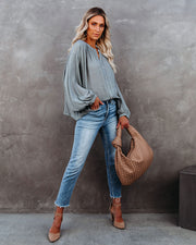 Hand In Hand Button Down Top - Sage Dust