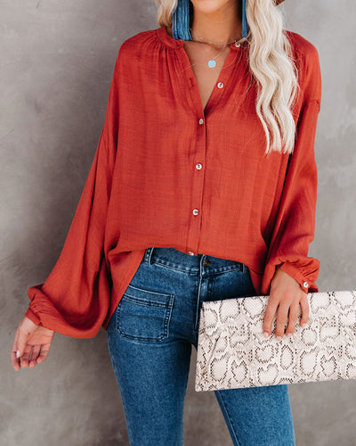 Hand In Hand Button Down Top - Terracotta