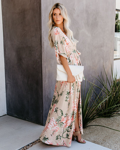 Happiness Blooms From Within Kimono Maxi Dress