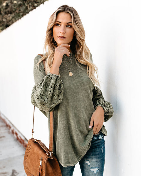 All Things Beautiful Dolman Knit Top - Olive - FINAL SALE
