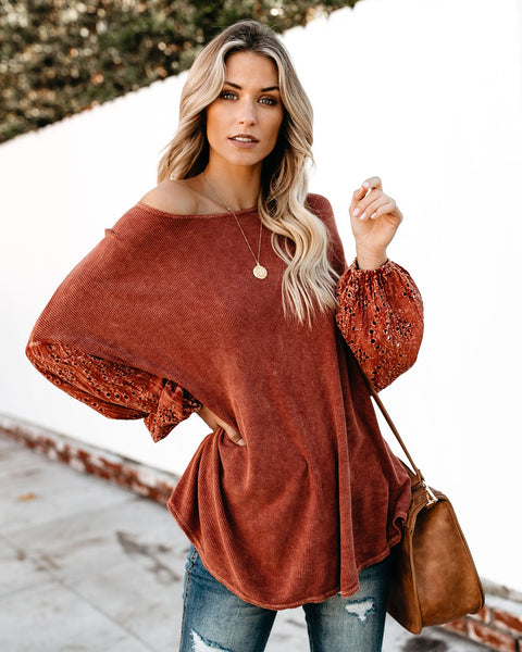 All Things Beautiful Dolman Knit Top - Rust - FINAL SALE